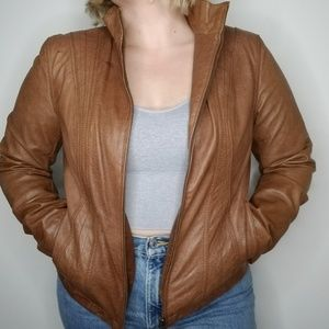 A.N.A New Approach Leather Zippered Jacket Cognac